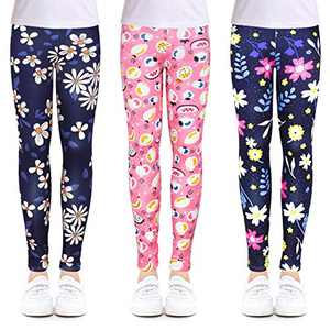 slaixiu 3-Pack Printing Flower Girl Leggings Kids Classic Pants 4-13Y(XPFR_10-11,80#)
