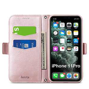 Aunote iPhone 11 Pro Wallet Case, iPhone 11 Pro Flip Case with Card Slots, Magnetic Closure, Kickstand, Soft TPU+PU Leather Folio Phone Cover Full Protective for iPhone 11 Pro. Rose Gold