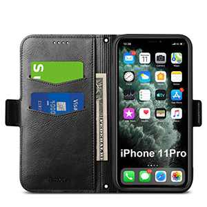 Aunote iPhone 11 Pro Case Wallet, Slim iPhone 11 Pro Flip PU Leather Case, iPhone 11 Pro Folio Case, iPhone 11Pro Case with Card Holder, iPhone11Pro Phone Cases, Protective Full Cover. Black