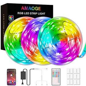 49.2ft LED Strip Lights, AMAOGE LED Lights for Bedroom with Music Sync Color Changing Lights SMD5050 44keys Remote, APP Smart Controller Lights Rope Lights for Home TV Party APP Controlled(3x16.4Ft)