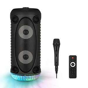 Starfavor Portable Karaoke Machine Speaker with Microphone, Rechargeable Wireless PA System with Lights, Remote Control, Supports TF Card/USB, AUX-IN, for Party/Wedding/Performance/Christmas, SKM-500