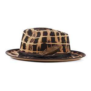 Vintage Fedora Firm Wool Felt Panama Hat Classic Rancher for Men Women Wide Brim Lining Distressed/Burned Handmade