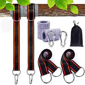 FLY2SKY Tree Swing Strap Hanging Kit Holds 2800lbs 5ft Long 2 Tree Protectors 2 Heavy Screw Lock Carabiners Fits for Any Swings Tire Hammock Garden/Baby/Toddler Swing Hammock Tire Swing Accessories