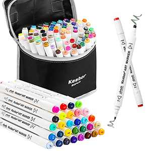 Keebor Premium 80 Colors Dual Tip Art Markers, Perfect for Kids, Sketching and Card Making, General Markers for Fine Arts Academy