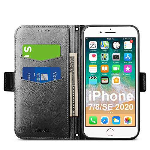 Aunote iPhone 7/8/SE 2020 Case, iPhone 7/8/SE 2020 Phone Case, Slim Flip/Folio Cover – Wallet Style: Made of PU Leather Shell (Lightweight, Feels Good) and TPU Inner - Full Protection. Black