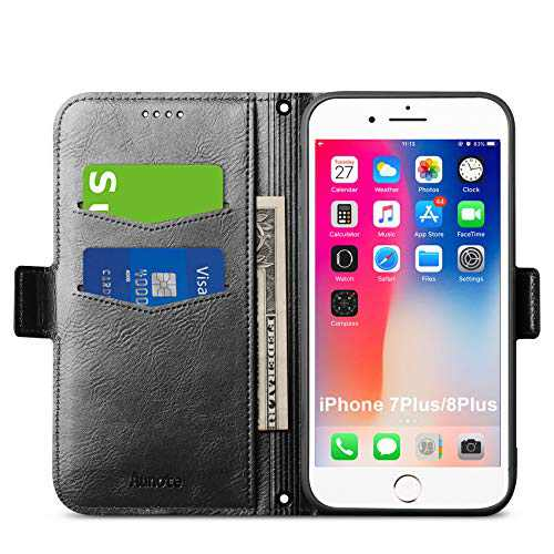 """Aunote iPhone 8 Plus Wallet Case, iPhone7 Plus Wallet Case, iPhone8Plus Flip Case with Card Holders, Magnetic Closure, Kickstand, Slim Full Protection Leather Folio Covers for Apple 5.5"""" Phone. Black"""