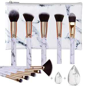 Makeup Brushes HEYMKGO Professional Marble Makeup Brush Set, Soft and Odor-free Natural Synthetic Bristles,10PCS + 2 Sponge Puff + Marble Pattern Cosmetics Bag