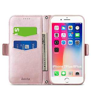 """Aunote iPhone 7 Plus Case Wallet, iPhone 8 Plus Case Wallet, Slim iPhone 7Plus Flip Folio Case, iPhone 8 Plus Leather Case, iPhone 8Plus Phone Cases w Card Slot, Apple 5.5"""" Protective Cover. Rose Gold"""