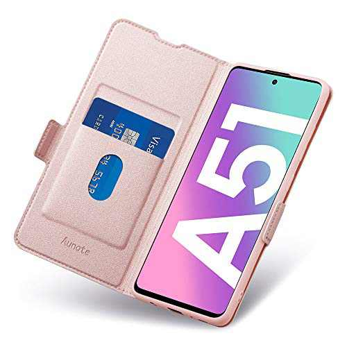 Aunote Samsung A51 Case, Samsung Galaxy A51 4G Phone Case, Slim Flip/Folio Cover – Wallet Style: Made of PU Leather and TPU Inner (Lightweight, Feels Good) – Provide Full Body Protection. Rose Gold