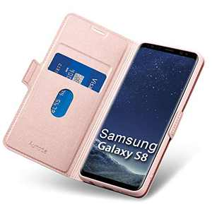 Aunote Samsung S8 Wallet Case, Galaxy S8 Flip Case with Card Slot, Magnetic Closure and Kickstand, Soft TPU+Slim PU Leather Folio Phone Cover Full Protection for Samsung Galaxy S8. Rose Gold