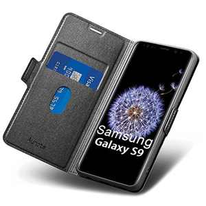 """Aunote Samsung S9 Case Wallet, Samsung Galaxy S9 Leather Case, Slim Flip/Folio Galaxy S9 Case,Full Protective Cover with Card Holder, Samsung S9 Phone Case for Galaxie 5.8"""" Black"""