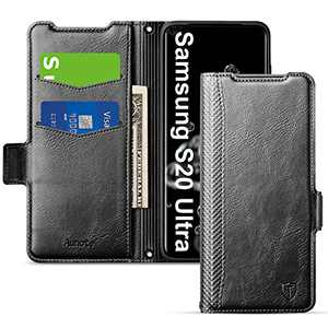 Aunote Samsung S20 Ultra Case, Samsung Galaxy S20 Ultra Phone Case 5G, Slim Flip/Folio Cover - Wallet Style: Made of PU Leather and TPU Inner (Lightweight, Feels Good) - Full Protection. Black