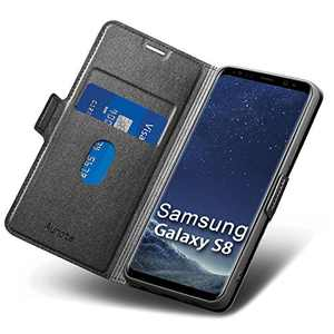 """Aunote Samsung S8 Case Wallet, Samsung Galaxy S8 Leather Case, Slim Flip/Folio Galaxy S8 Case,Full Protective Cover with Card Holder, Samsung S8 Phone Case for Galaxie 5.8"""" Black"""