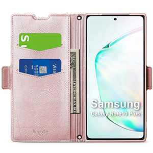 Aunote Samsung Galaxy Note 10 Plus Case, Samsung Note 10 Plus 5G Phone Case, Flip/Folio Cover - Wallet Style: Made of PU Leather and TPU Inner (Lightweight, Feels Good) - Full Protection. Rose Gold