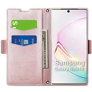 Aunote Samsung Galaxy Note 10 Wallet Case,Galaxy Note 10 Flip Case with Card Slots, Magnetic Closure, Kickstand, TPU+PU Phone Cover Full Protective for Samsung Galaxy Note 10. Rose Gold