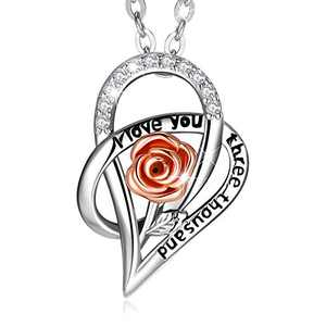 CELESTIA Sterling Silver Rose Necklace for Women, Flower Rose Gold Heart-shape Pendant Necklace Birthday Mothers Day Gifts for Women