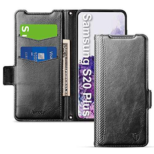 Aunote Samsung S20 Plus Case, Samsung Galaxy S20 Plus Phone Case 5G, Slim Flip/Folio Cover - Wallet Style: Made of PU Leather and TPU Inner (Lightweight, Feels Good) - Full Protection. Black