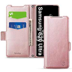 Aunote Samsung Galaxy S20 Ultra Case, Samsung S20 Ultra 5G Phone Case, Slim Flip/Folio Cover - Wallet Style: Made of PU Leather and TPU Inner (Lightweight, Feels Good) - Full Protection. Rose Gold