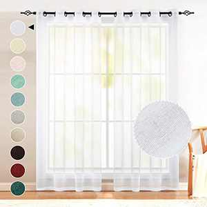 Naturoom White Sheer Curtains 63 Inch Length 2 Panels Grommet Top Window Voile Drapes Faux Linen Semi Sheer Curtains for Bedroom Kids Room Nursery Wide 52 x 63 Inches Long Set of 2 Pieces Pack 1 Pair