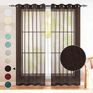 Naturoom Brown Curtains 84 Inch Length for Living Room Set 2 Panel Grommet Linen Look Semi Voile Drapes Window Sheer Curtains for Bedroom Girls Kids Nursery Decoration Christmas Decor Chocolate