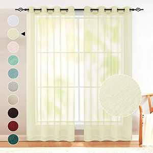 Beige Curtains 84 Inches Long for Living Room Set of 2 Panels Grommet Window Drapes Semi Voile Linen Look Sheer Curtains for Bedroom Kids Nursery 1 Pair 52x84 Inch Length Nickel Ring Beige Tan Color