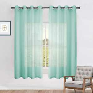 Sea Mist Sheer Curtains 63 Inch Grommet 2 Pieces Faux Linen Voile Drapes Window Semi Sheer Curtains for Living Room Bedroom Bathroom Matte Nickel Top Width 52 x 63 Inch Length Seafoam Green