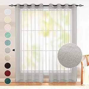 Grey Sheer Curtains 63 Inch Length for Girls Room Set 2 Panels Grommet Elegant Semi Voile Window Drapes Light Pale Silver Gray Curtains for Bedroom Girls Teens Kids Boys Room Baby Nursery 52x63 Long