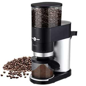 ENZOO Burr Coffee Grinder, Conical Electric Coffee Bean Grinder with Detachable Design for Easy Cleaning, Portafilter Attachment, Built-in Timer, Cleaning Brush and Measuring Scoop Included, Black