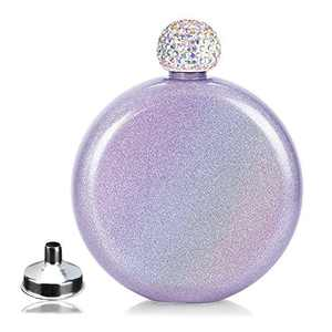 Stainless Steel Hip Flask for Lady,Cute Whiskey Flasks with Glitter Coating,Portable Alcohol Flask for Club Party and Evening,Capacity 5 oz (Violet)
