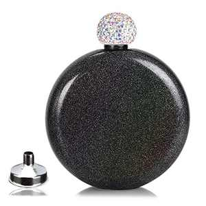 Chic Drink Flasks Leak Proof, Gift Choice Wine Flasks with Rhinestone Cap,Portable Alcohol Flask for Travel Hiking and Street,Capacity 5 oz (Black)