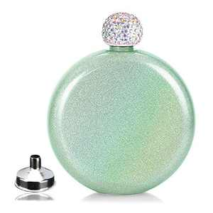 Round Hip Flask for Lady with Rhinestone Cap, Lovely Drink Flasks,Glitter Coating,Portable Whiskey Flask for Club Party and Evening,Capacity 5 oz (Green)