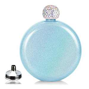Stainless Steel Wine Flask for Women,Pretty Glitter Coating,Rhinestone Cap Whiskey Flasks,Portable Liquor Flask for Beach BBQS and Outdoor,Capacity 5 oz (Blue)
