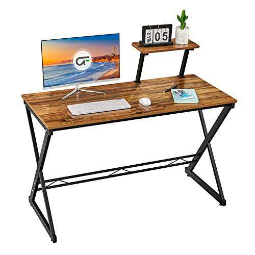 GreenForest Small Desk for Small Space 35inch Office Computer Table with Storage Shelf for Home Office PC Laptop Workstation Saving Space Writing Study Desk for Kids Students Adults, Walnut