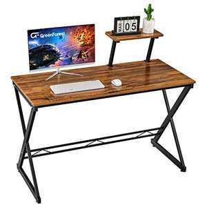 "GreenForest Computer Desk 47"" Small Writing Desk for Home Office Studying Gaming Laptop Table with with Moveable Shelf, Walnut"