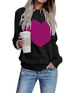 EC ELEGANTCHARM Women's Pullover Sweaters Knitted Long Sleeve Crewneck Heart Patchwork Jumper Cozy Tops Rose Red
