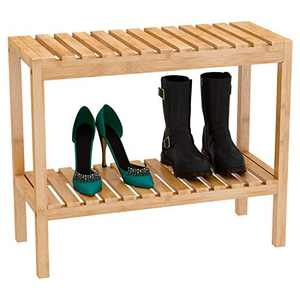 Shoe Bench Rack Entryway Organizer – Boots Storage 2 Tier Bamboo Wood Shelf, Easy to Assemble