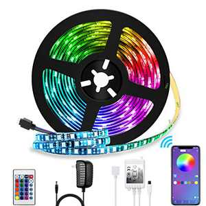 LED Strip Lights Color Changing LED Strip Lights 16.4ft SMD 5050 RGB Light Strips APP Control,Sync to Music,Dimmable,Apply for TV ,Bedroom,Bar Party and Home Decoration(16.4FT)