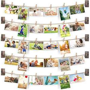 Emfogo Collage Picture Frames Hanging Photo Display Rustic Wood Photo Frame Collage with 30 Wood Clips Wall Art Decoration ,for Office Teenager girls Room Dorm Bedroom