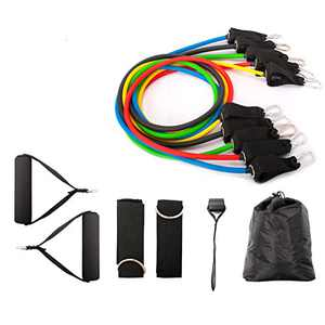 Eyewin Resistance Bands Set Exercise Bands 11 Pack Include 5 Fitness Tubes, Foam Handles, Ankle Straps, Door Anchor, Carry Bag-Home Workouts,Yoga, Crossfit, Pilates, Gym Training