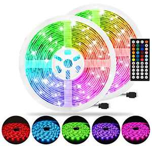 AveyLum 65.6ft LED Strip Light RGB Flexible Rope Lights 5050 SMD Non Waterproof IP20 20M Tape Light with 44 Keys Wireless Controller and 24V Power Adapter for Home Kitchen Party TV Deco