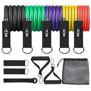 Exercise Bands Set Resistance-Bands-Set with Door Anchor, Handles, 5 Bands,Stackable Up to 100 lbs,Ankle Straps for Home Workout,Physical Training