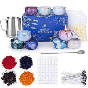 SUPERSUN Candle Making Kit, Wax Melt Making Kit, 480g Beeswax Pellets, 50 Candle Wicks, 4 Colour Dyes, 500ml Wax Melting Pot, 100 Candle Wick Stickers, 9 Empty Candle Tins