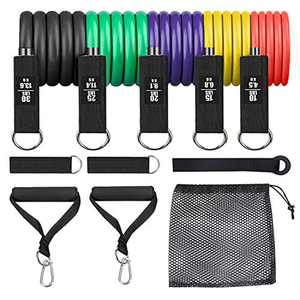 Vzteek Resistance Band Set Exercise Band Set Stackable with Door Anchor, Handles, Ankle Straps, Carry Bag for Resistance Training, Physical Therapy, Home Workouts (100LBS)