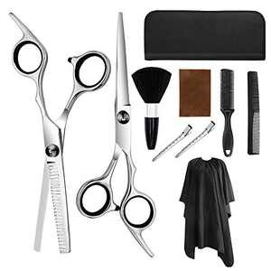 Professional Hair Cutting Scissors Set, Aolerx 9 PCS Barber Thinning Scissors Hairdressing Shears Stainless Steel Hair Cutting Shears Kit with Cape Clips Comb for Men Women Pet