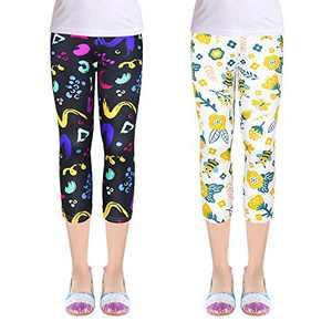 ZukoCert Girls 2-Pack Leggings Tights Kids Stretch Pants Capri Length Leggings for Children 3-10Y(7XLXK_160#)