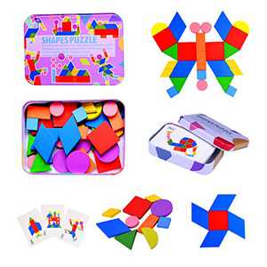 JIAHCN Wooden Pattern Blocks Montessori Toys for Toddlers, Animals Geometric Tangram Jigsaw Puzzles Games for Kids Ages 3-8 Sorting and Stacking Learning Toys with 60 Pattern Cards 34 Shapes Pcs…