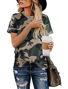 LuckyMore Womens Short Sleeve Summer Shirts Casual Loose Camo T Shirts Graphic Tees XL