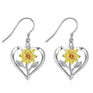 Klurent Sunflower Earrings for Women Hypoallergenic 925 Sterling Silver Dangle Drop Lightweight Sunflower Earrings Gift for Girls