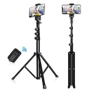 "Phone Tripod Stand, LINKCOOL Selfie Stick 51"" Portable Phone Tripod Stand for iPhone and Android Amartphone, Camera Tripod with Wireless Remote, Universal Phone Holder, Gopro Adapter & Aluminum Alloy"