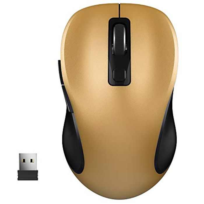Wireless Mouse, WisFox 2.4G Wireless Ergonomic Mouse Computer Mouse Laptop Mouse USB Mouse 6 Buttons with Nano Receiver 3 Adjustable DPI Levels Cordless Wireless Mice for Windows, Mac (Yellow)
